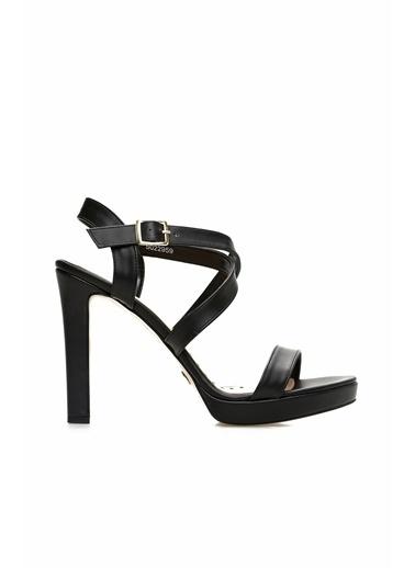 Divarese Divarese 5022959 Platformlu Kadın Suni Deri Topuklu Ayakkabı Siyah